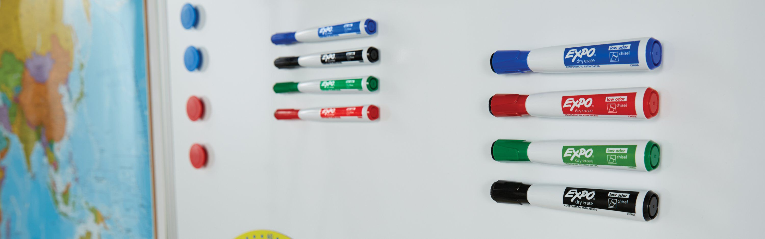 Expo markers on whiteboard