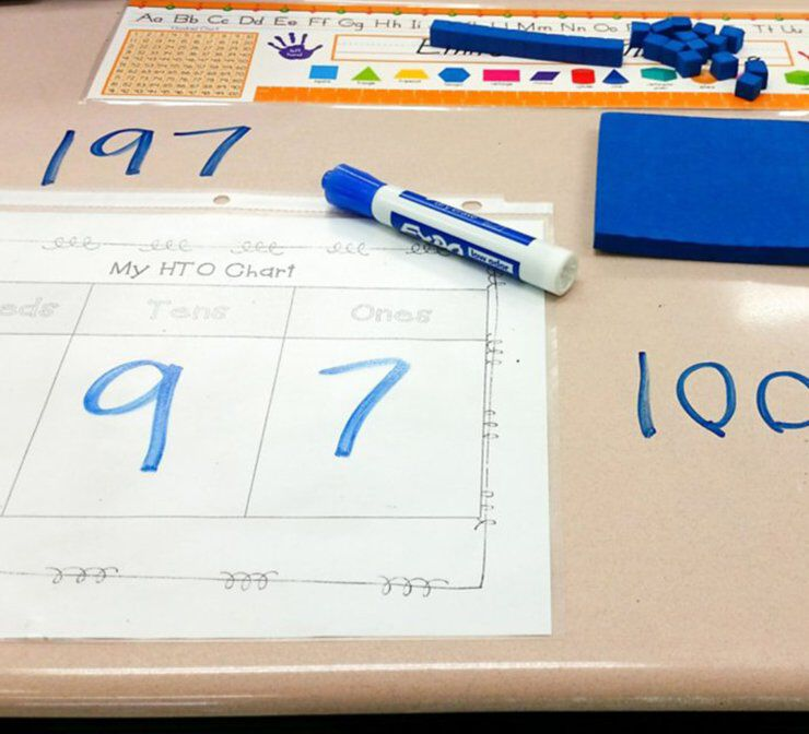 Blue Expo marker on desk