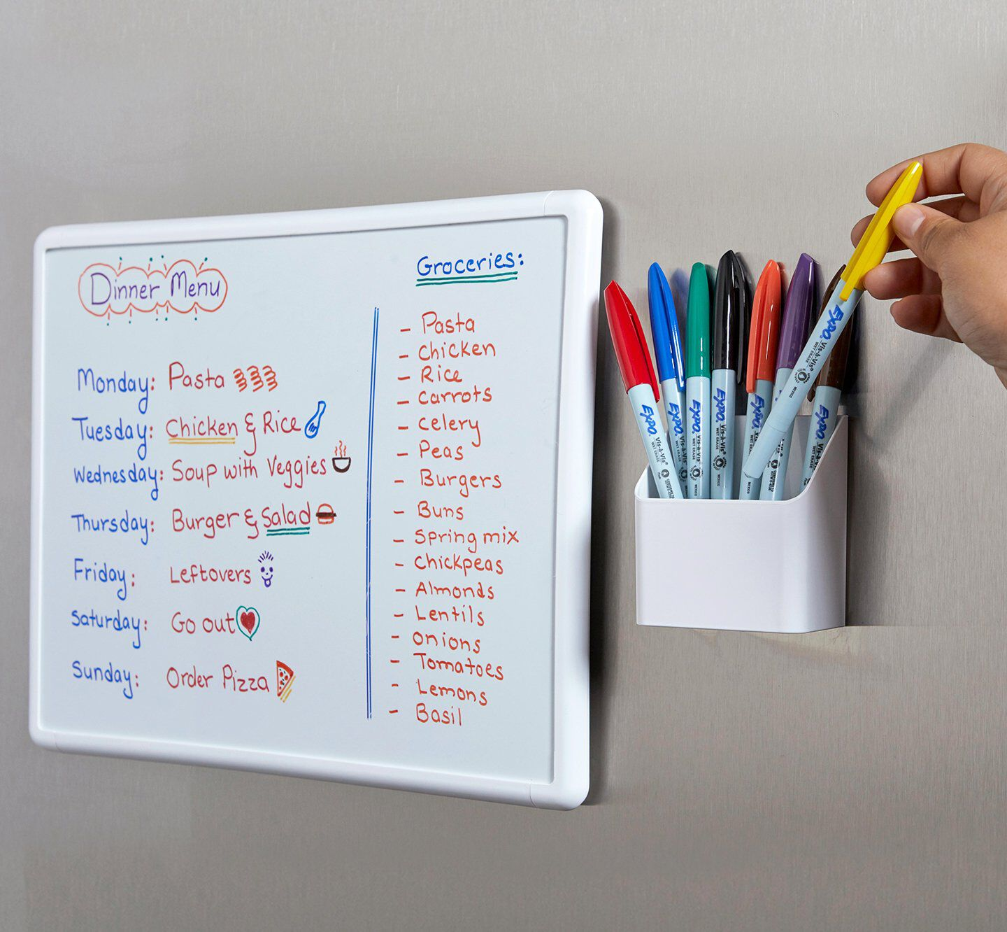 mounted white board with assorted colored dry erase markers