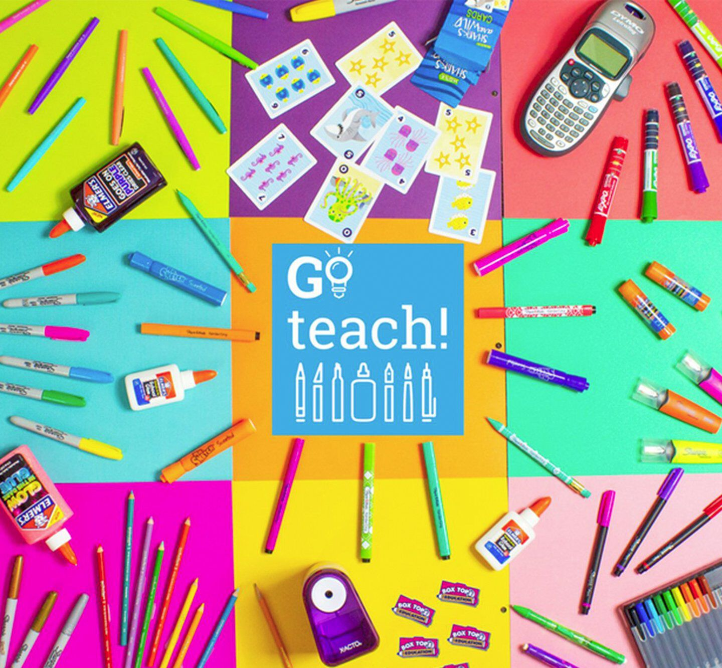 Assorted school supplies with glue, markers, and pencils